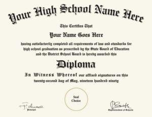fake high school diploma design 1
