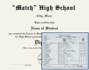 Match Fake High School Diploma and Transcripts