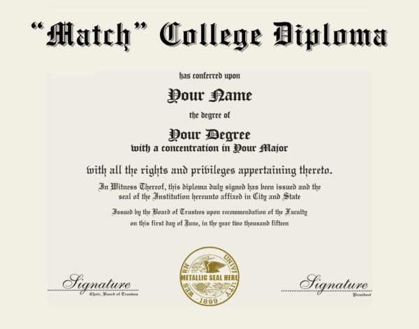 Fake College Diploma Replica with metallic seal