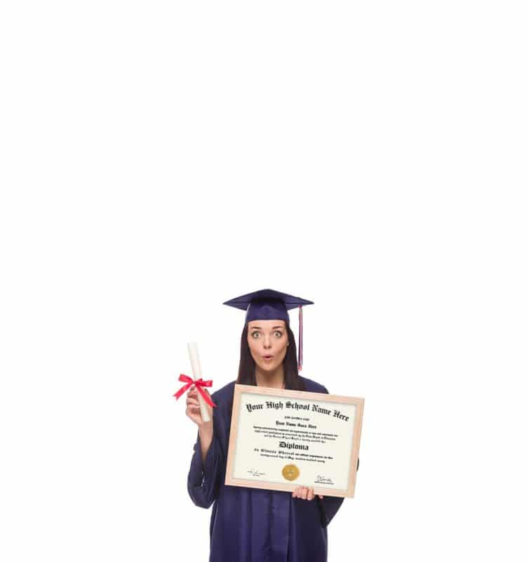Graduate holding high school fake diploma